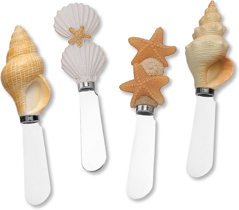 Wine Things Shells on Beach Resin Cheese Spreaders Set of 4