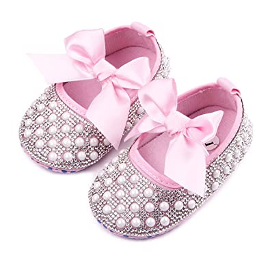 Terryws Baby Newborn Toddler First Walkers Shoes Crib Soft Soled Crystal Pearl Diamond Mary Jane Big