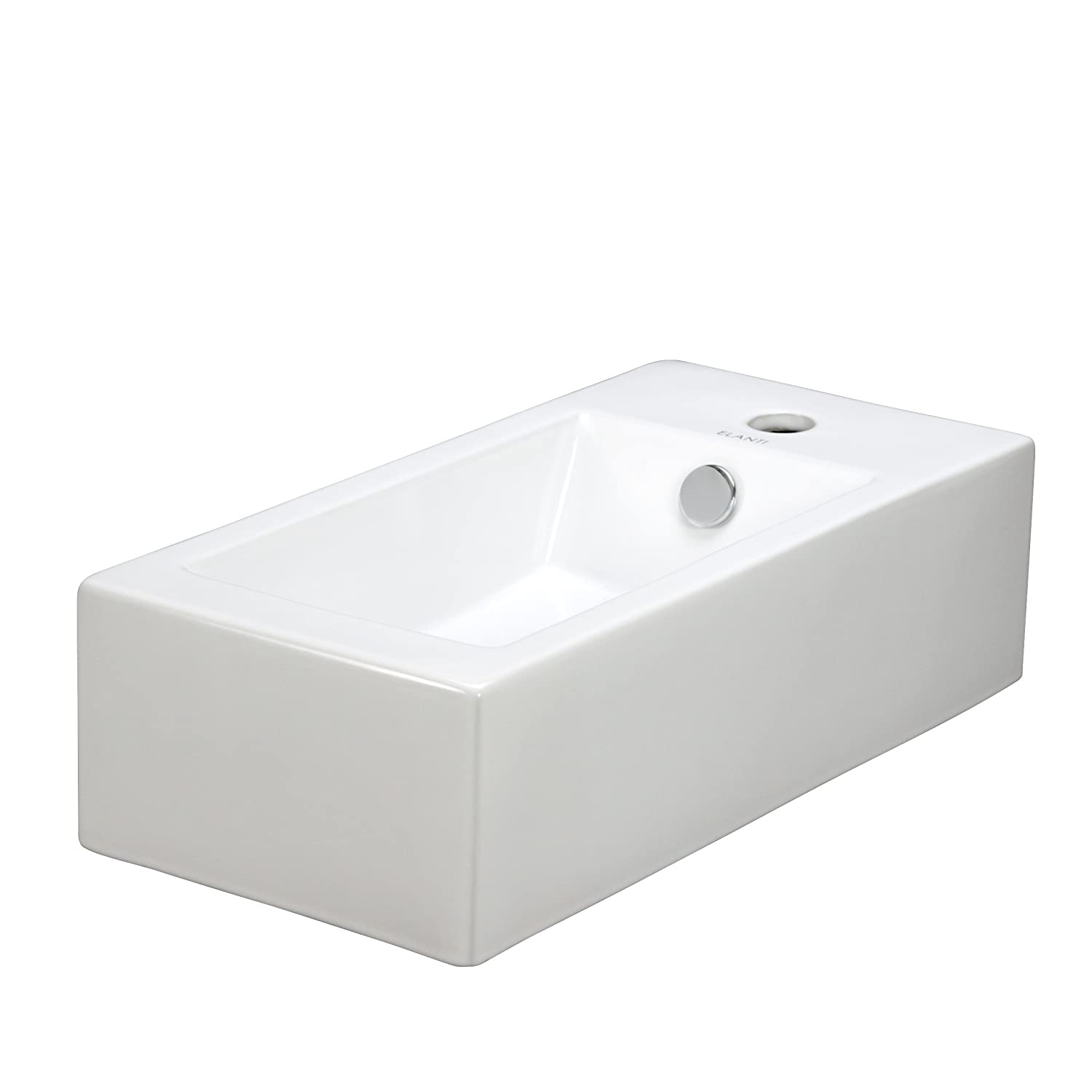 elite sinks ec9899l porcelain wallmounted rectangle leftfacing sink white wall mounted bathroom sink amazoncom