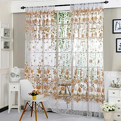 Kolylong Rideaux Salon Design Moderne Solide Couleur Rideaux Voilages  Discount 200 * 100 (Marron)
