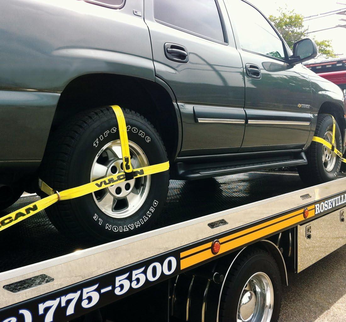 3300 lbs SWL 4 Pack VULCAN PROSeries Adjust Loop Car Tie Down with Snap Hook