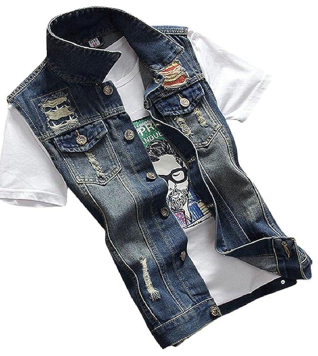 ZXFHZS-CA Mens Classic Sleeveless Denim Vest Jean Jacket Waistcoat Top