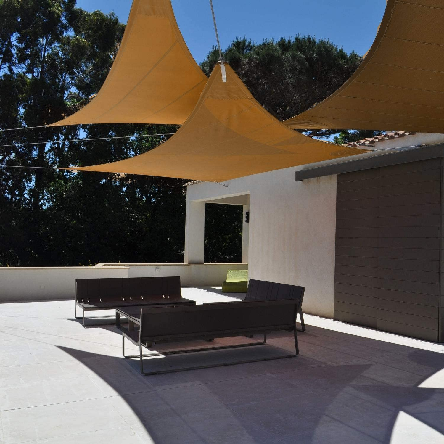 Beige Triangle Sun Shade Sail Canopy Awning AMYIPO 95/% UV Blockage Water /& Air Permeable for Patio Yard Pergola Commercial /& Residential 16x16x16ft