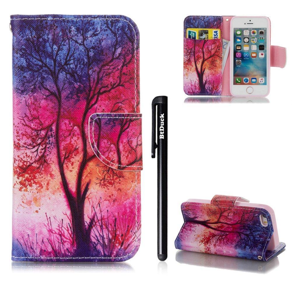 Hülle für iPhone 5 5S SE BtDuck Buntes Muster Kreativ Fantasie Handyhülle iPhone 5S Leder Flip Wallet Case Cover mit Silikonhülle Schutzhülle für iPhone SE