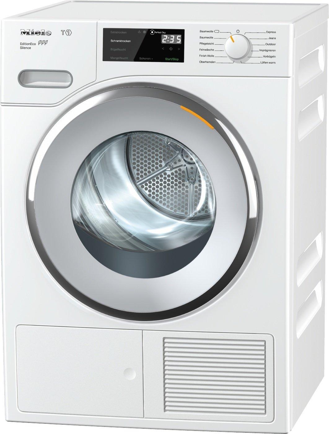 Miele TWF 505 WP Silence Wärmepumpentrockner / Energieklasse A+++ (171kWh/Jahr) / 8 kg Schontrommel / Duftflakon für frisch duftende Wäsche / Startvorwahl und Restzeitanzeige / Knitterschutz [Energieklasse A+++] TWF 505 WP EditionEco Silence