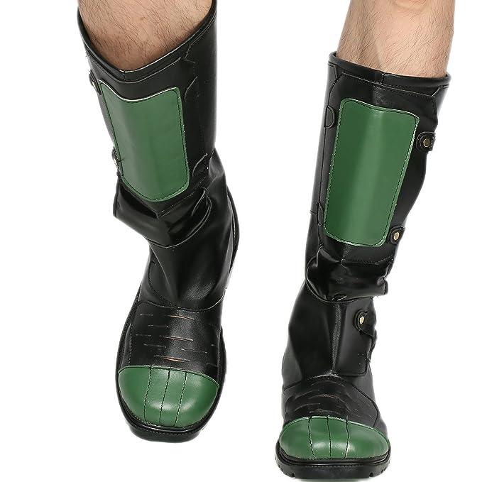 Amazon.com: Dredd Botas Negro Verde Deluxe PU Cool Cosplay ...