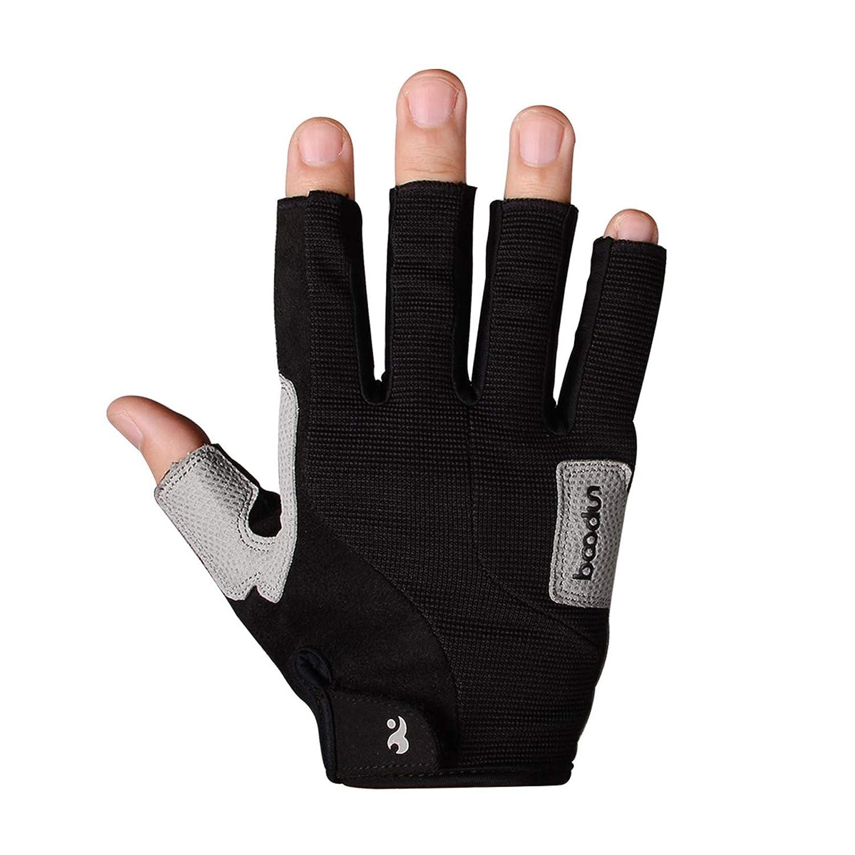 Aokarry Gloves Cycling Motocycle Gloves Microfiber Half Finger Gloves FingerlessGrey//Black