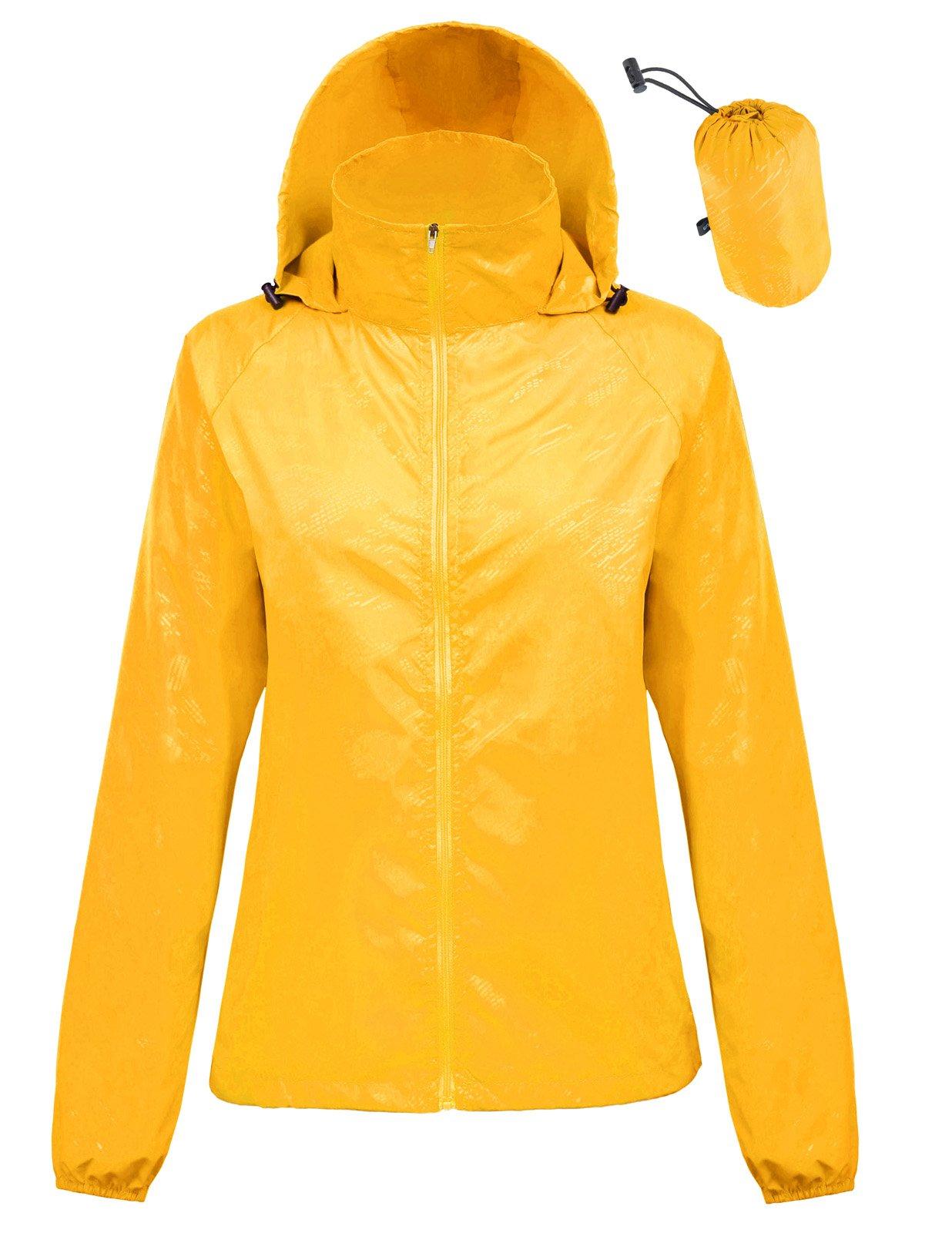 Kate Kasin Mountaineer Travel Windproof Jackets Rain Coats for Women (M,Yellow1001)