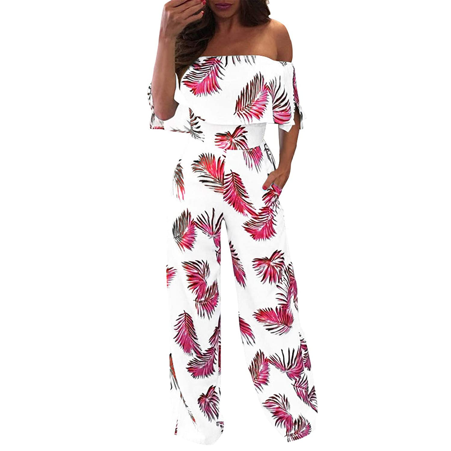 Thenxin Womens Off Shoulder Jumpsuits Strapless Ruffle Leaf Print High Waist Long Pants Rompers