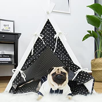 little dove Large Dog House Pet Teepee Fold Away Pet Tent Furniture Pet Bed With Cushion & Amazon.com : little dove Large Dog House Pet Teepee Fold Away Pet ...