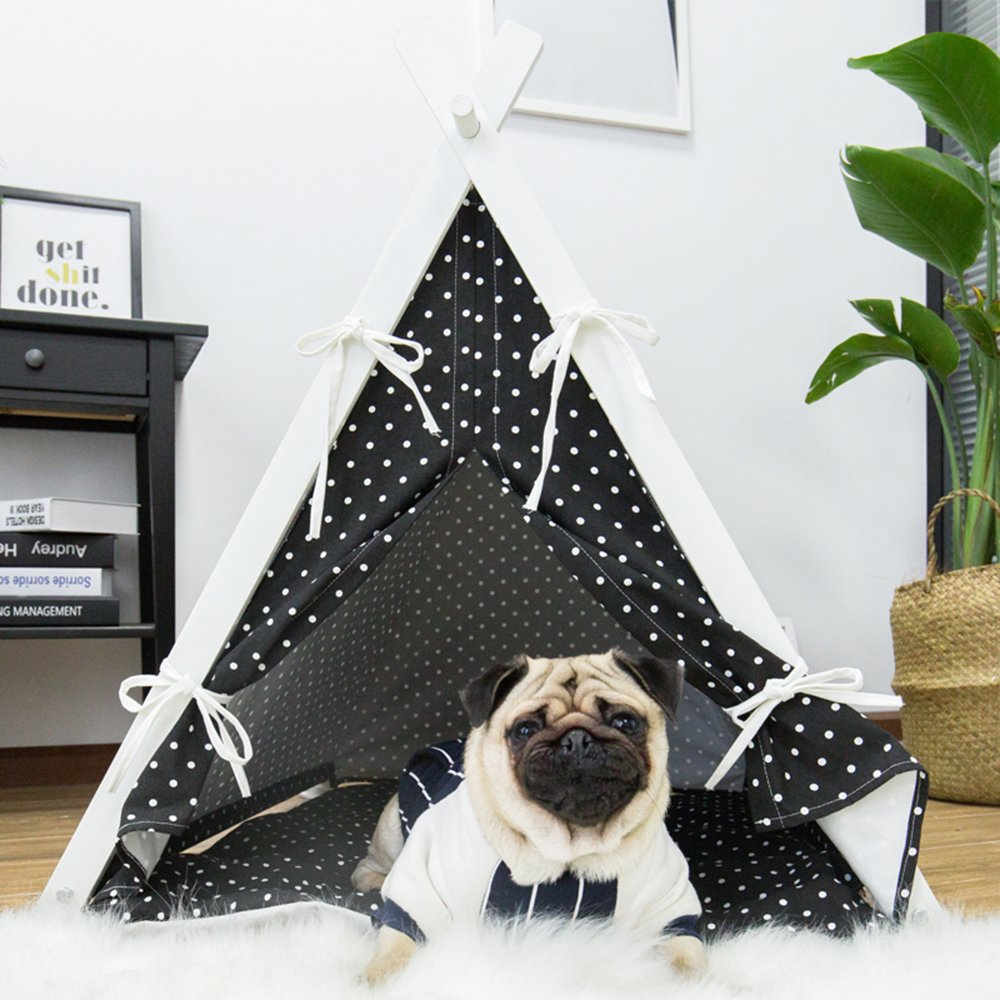 little dove Dog Teepee Large Pet Tent Furniture Cat and Dog Bed With Pad 35 Inch Black Cover and Black Pad