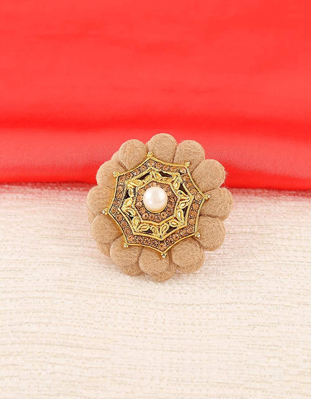 Anuradha Art Brown Colour Flower Inspired Wonderful Sari//Saree Pin for Women//Girls
