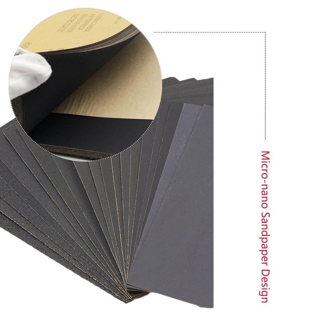 Papel de lija seco y h/úmedo Pulido de agua Lijado de arena Placa Herramientas de carpinter/ía plegables 230 280mm 2000#