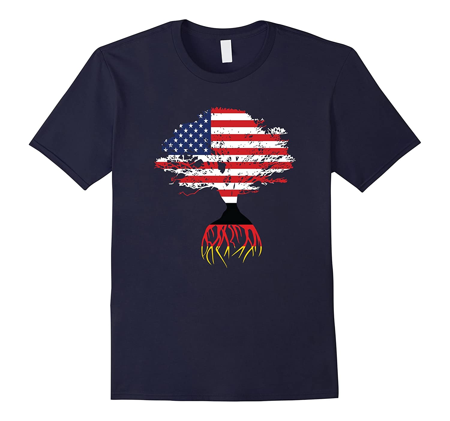 American Flag Tree German Roots T-Shirt-CD