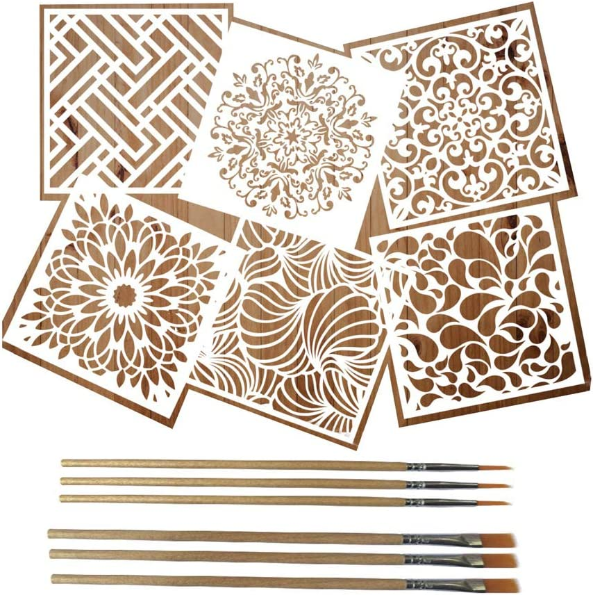 MICHIKO 6 Pack (6x6 Inch) Reusable Painting Drawing Stencils, Stencils for Painting on Wood, Large Wall Floor Tile Wood Fabric Art Kids Stencils, Mandala Moroccan Artistic Stencil