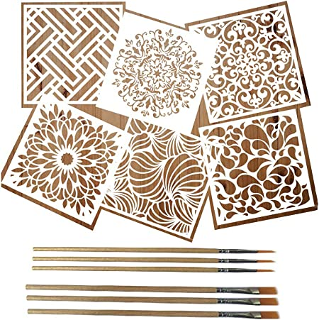 Mandala Moroccan Artistic Stencil Reusable Painting Drawing Stencils Stencils for Painting on Wood Large Wall Floor Tile Wood Fabric Art Kids Stencils 6x6 Inch MICHIKO 6 Pack