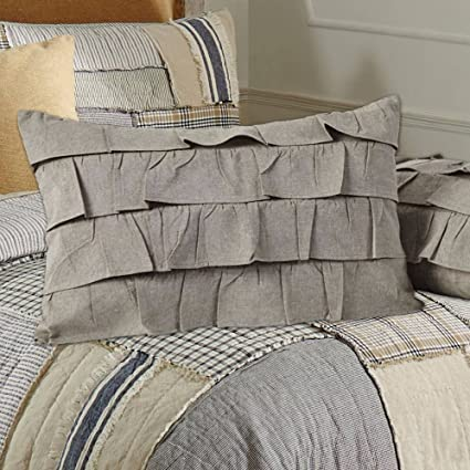 Piper Classics Ruffled Chambray Taupe-Grey Filled Pillow 14x22, Farmhouse Style