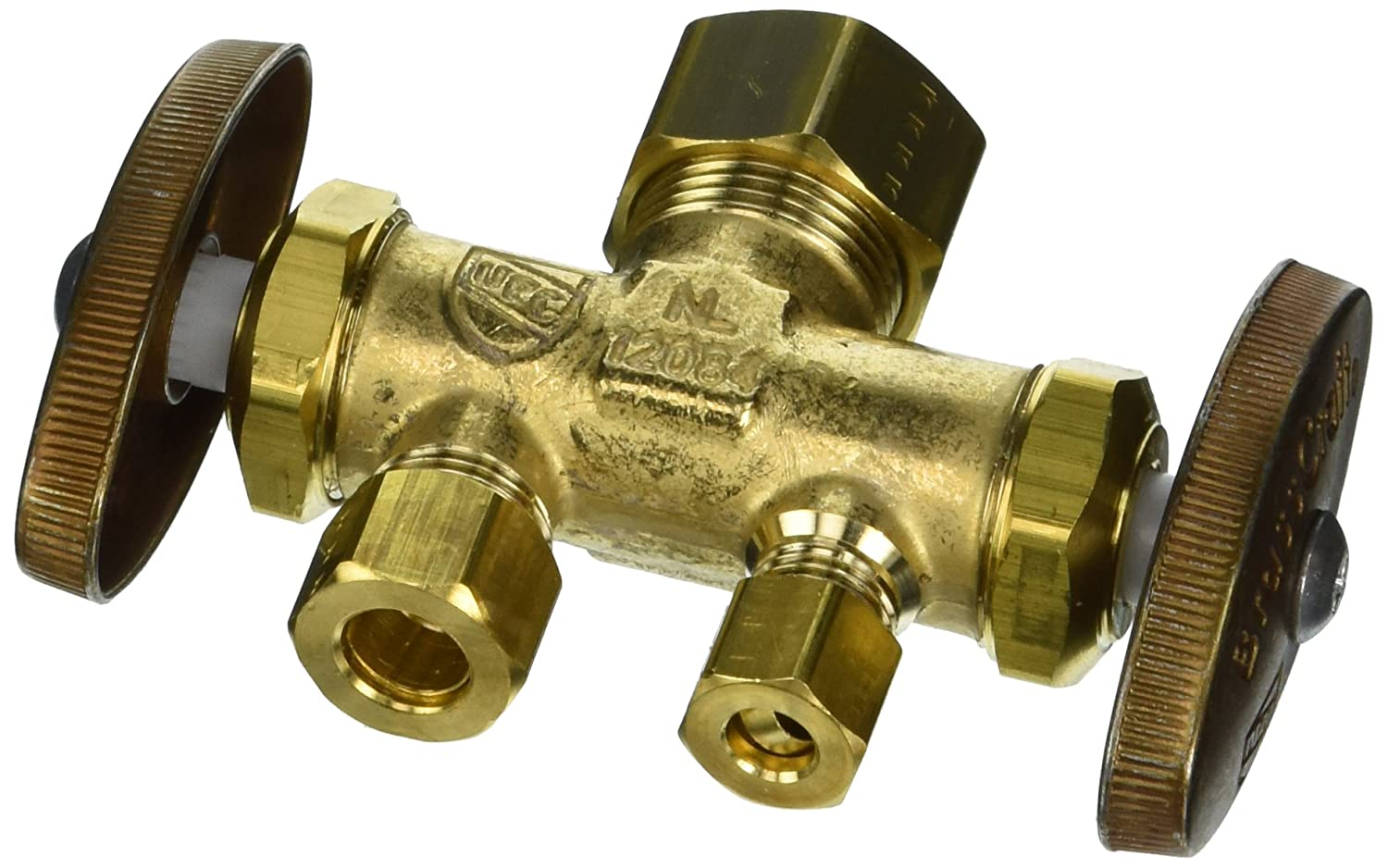 "BrassCraft CR1900DVSX R 1/2"" Nom Comp Inlet x 3/8"" O.D. Comp x 1/4"" O.D. Comp Dual Outlet Dual Shut-Off Multi-Turn Straight Valve"