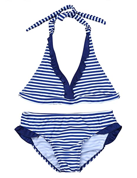 CHICTRY Youth Teens Girls Bikini Set 2-Piece Halter Tie Back Stripe Swimwear Bathing Suits