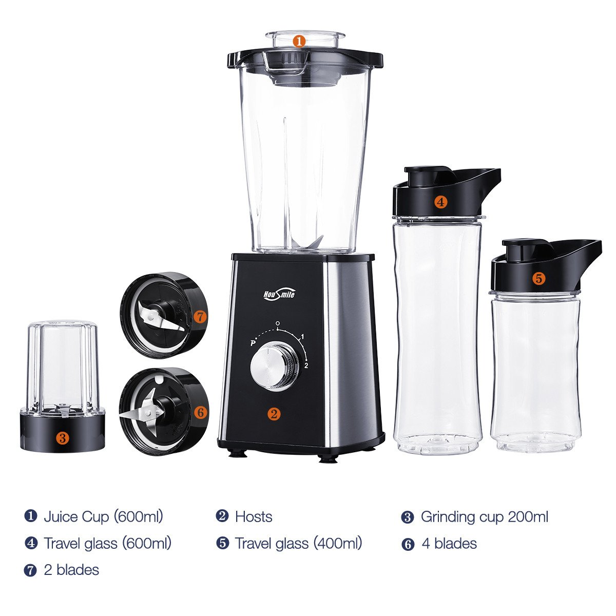 Housmile Smoothie Blender, 7-Piece Countertop with 300 Watt Base, High-Speed for Shakes and Smoothies & Ice, Ice, White by Housmile (Image #6)