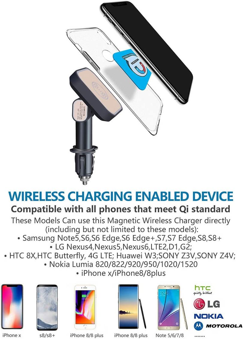 Wireless Charger Qi Car Charging Adapter,MOZEEDA Cigarette
