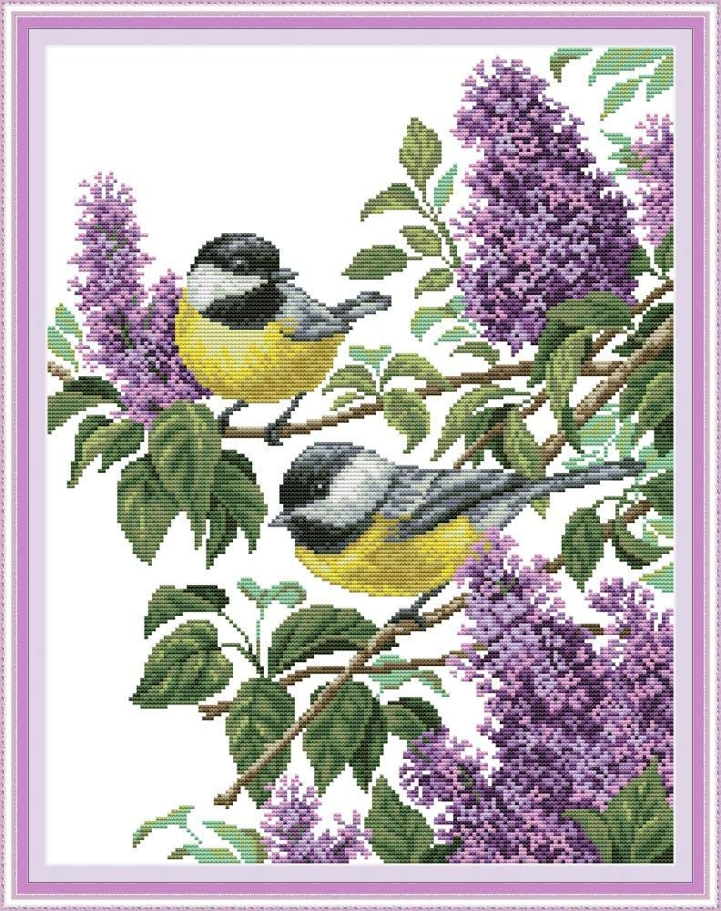 Two Birds on Tree Branch 11CT 47/×59cm DIY Embroidery Needlework Kit with Easy Funny Preprinted Patterns Needlepoint Christmas Birds YEESAM ART Cross Stitch Kits Stamped for Adults Beginner Kids
