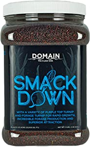 Domain Outdoor Smack Down Food Plot Seed, 1/2 Acre, Attractive Forages No Matter The Time of The Year, High Levels of Protein and Energy, Easy to Grow, Grows Rapidly and Fast to Mature