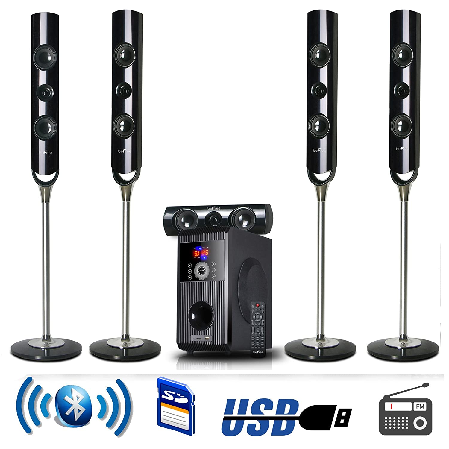 Details about NEW 5 1 CHANNEL HOME SURROUND SOUND THEATER SPEAKER SYSTEM  BLUETOOTH STREAMING
