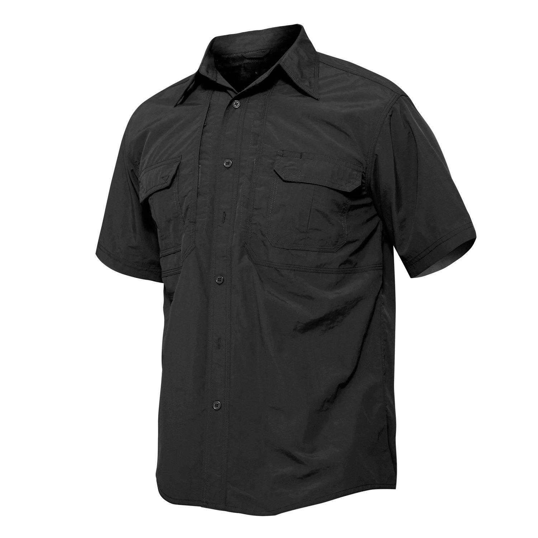 TACVASEN Men Loose fit Outdoor Sport Comfy Casual Short Sleeve Tactical Shirt Black,Black,US L=Tag 2XL(fit chest:39'')