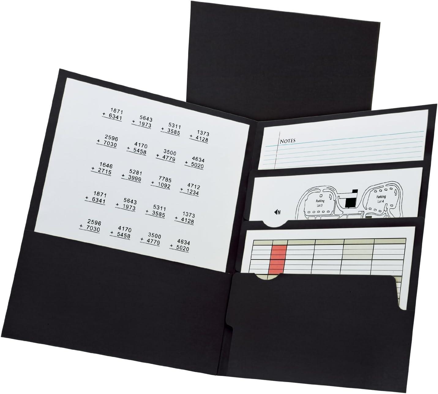 Oxford Divide it Up, 4 Pocket Folder, Black, Letter Size, 25 per Box (57403EE)