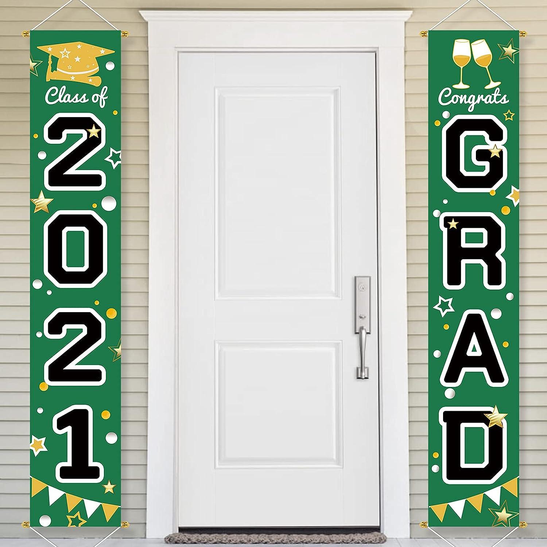 Bunny Chorus Graduation Decorations 2021 Porch Sign Set, Congrats Grad Class of 2021 Home for Outdoor Indoor, Green Black Hanging Banner Yard Porch Decor Party Decoration Ornament