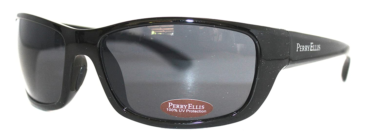 amazoncom perry ellis sunglass pe05 2 crystal black rectangle plastic smoke lens sports outdoors