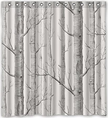 Brooding Youth Custom Polyester Bathroom Fabric Shower Curtain Decor Birch Tree Print60X72 Inch