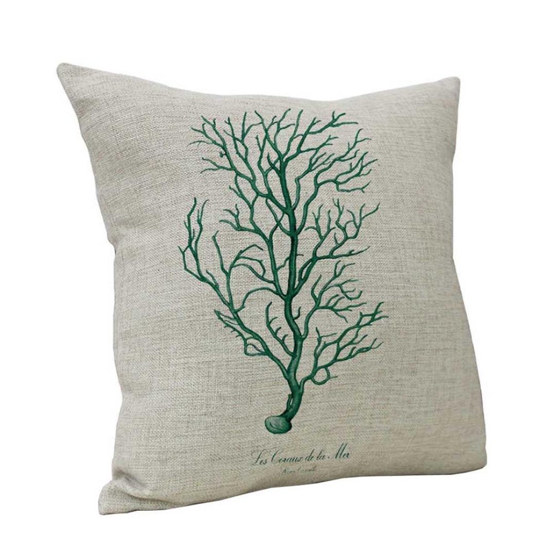 CSSD Ocean Coral Vintage Cotton Linen Throw Pillow Case Cushion Cover Home Sofa Decor (D)