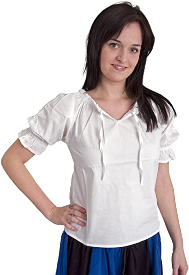 Ropa medieval - Blusa con encajes Luisa - blanco - S: Amazon.es: Ropa y accesorios