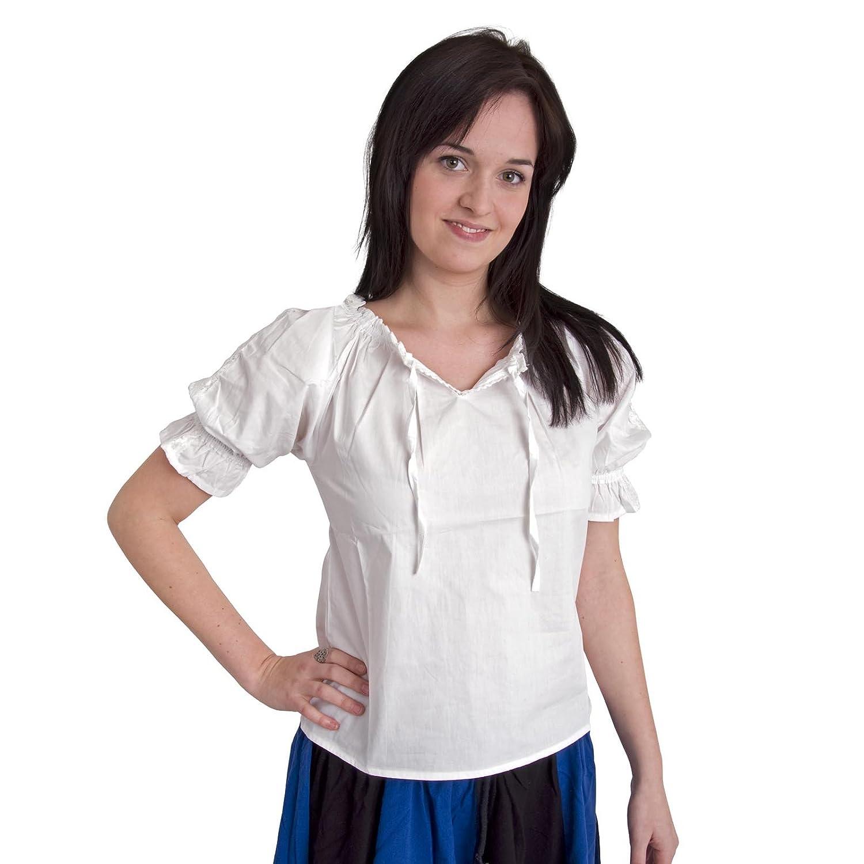 Ropa medieval - Blusa con encajes Luisa - blanco