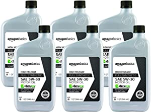 AmazonBasics High Mileage Motor Oil, Full Synthetic, SN Plus, dexos1-Gen2, 5W-30, Pack of 6, Quart Size