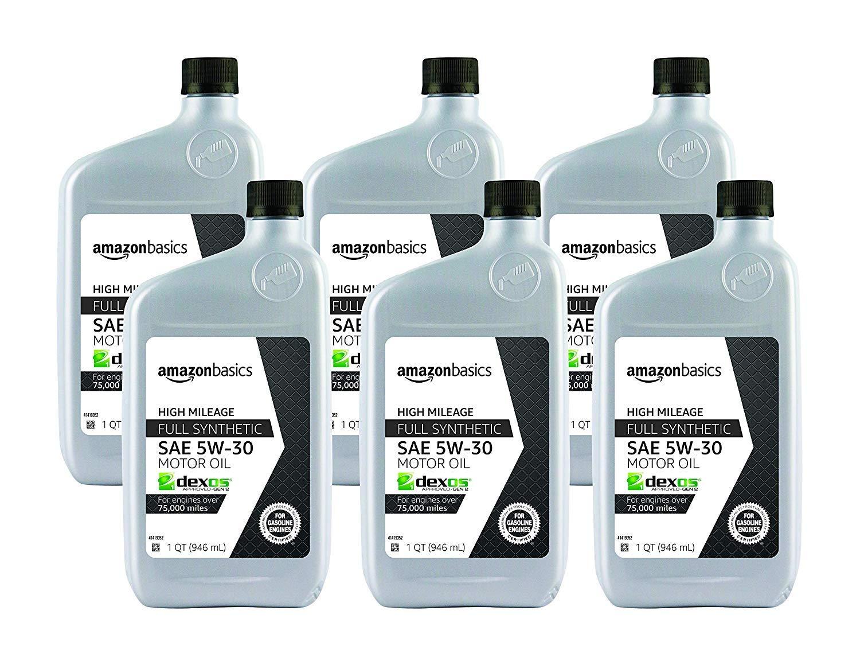 AmazonBasics High Mileage Motor Oil - Full Synthetic - 5W-30 - 1 Quart - 6 Pack