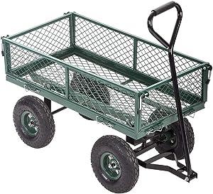 Garden Carts Utility Wagon Outdoor Lawn Yard Buggy Yard Dump Wagon Cart 400 Lbs Heavy Duty Cart with Folding Sides Utility Cart for Patio Lawn Garden Farm Ranch Material Transport