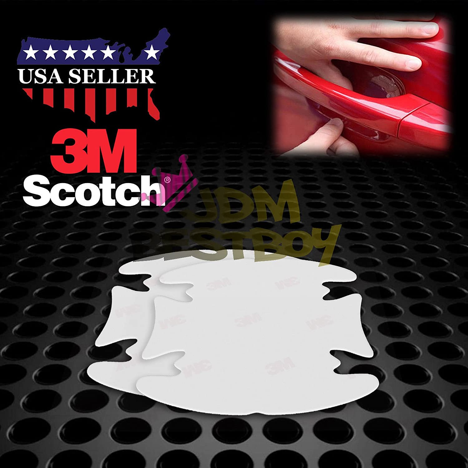 JDMBESTBOY 2PCs 3M Scotchguard Clear Door Cup Handle Paint Scratch Protection Protector Guard Film Bra