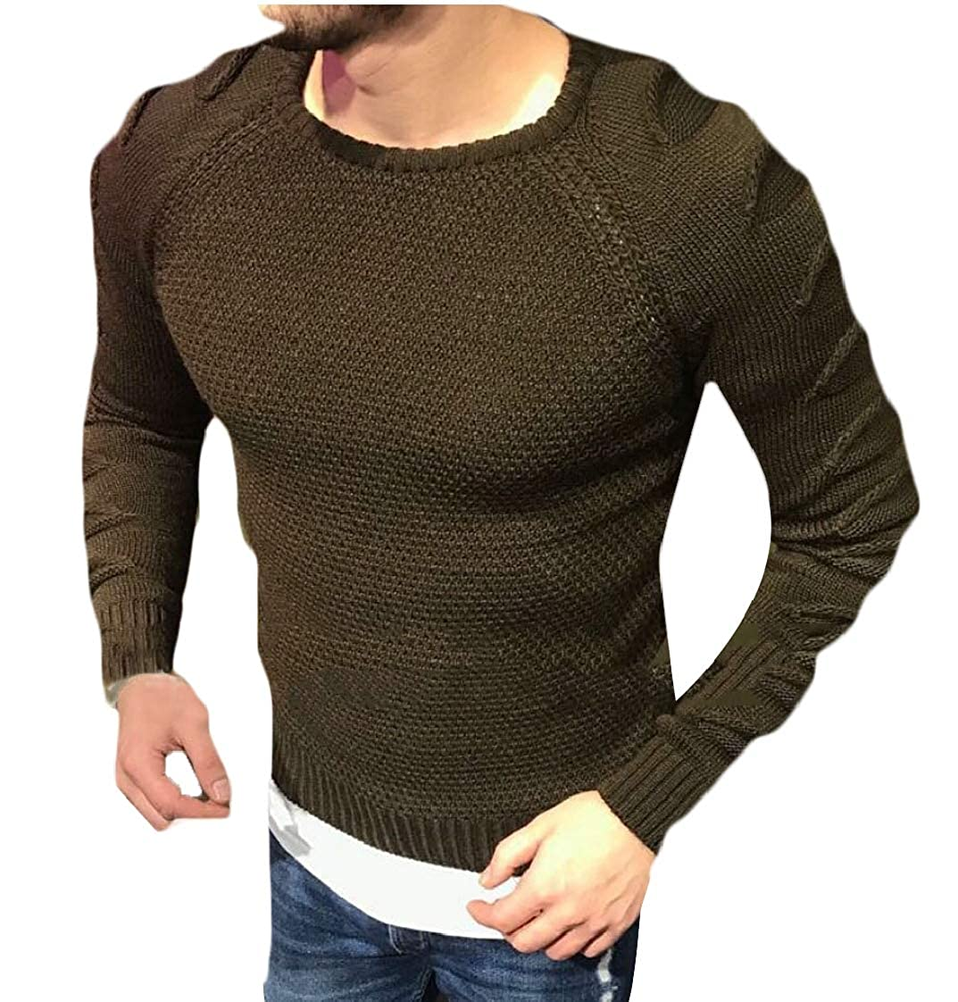 Keaac Mens Stretch Solid Pullover Knitted Sweaters Slim Fit O-Neck Long Sleeve Casual Crewneck Sweater