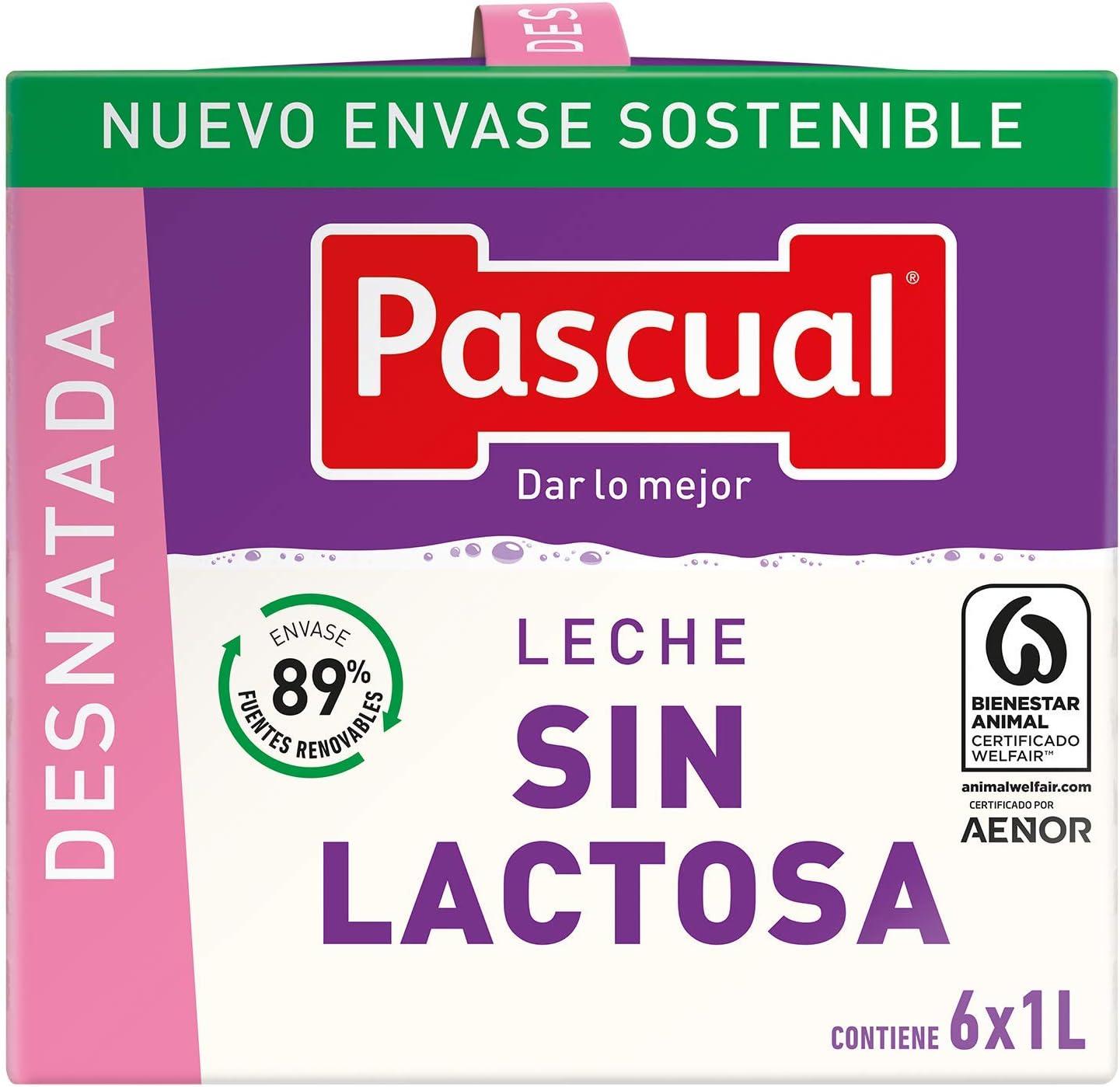Pascual Leche sin Lactosa Desnatada, Pack de 6 x 1000ml ...