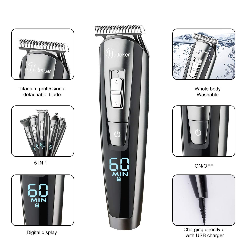 HATTEKER Beard Trimmer Kit For Men Cordless Mustache Trimmer Hair Trimmer Groomer Kit Precision Trimmer Nose Hair Trimmer Waterproof USB Rechargeable 5 In 1 by HATTEKER. (Image #3)