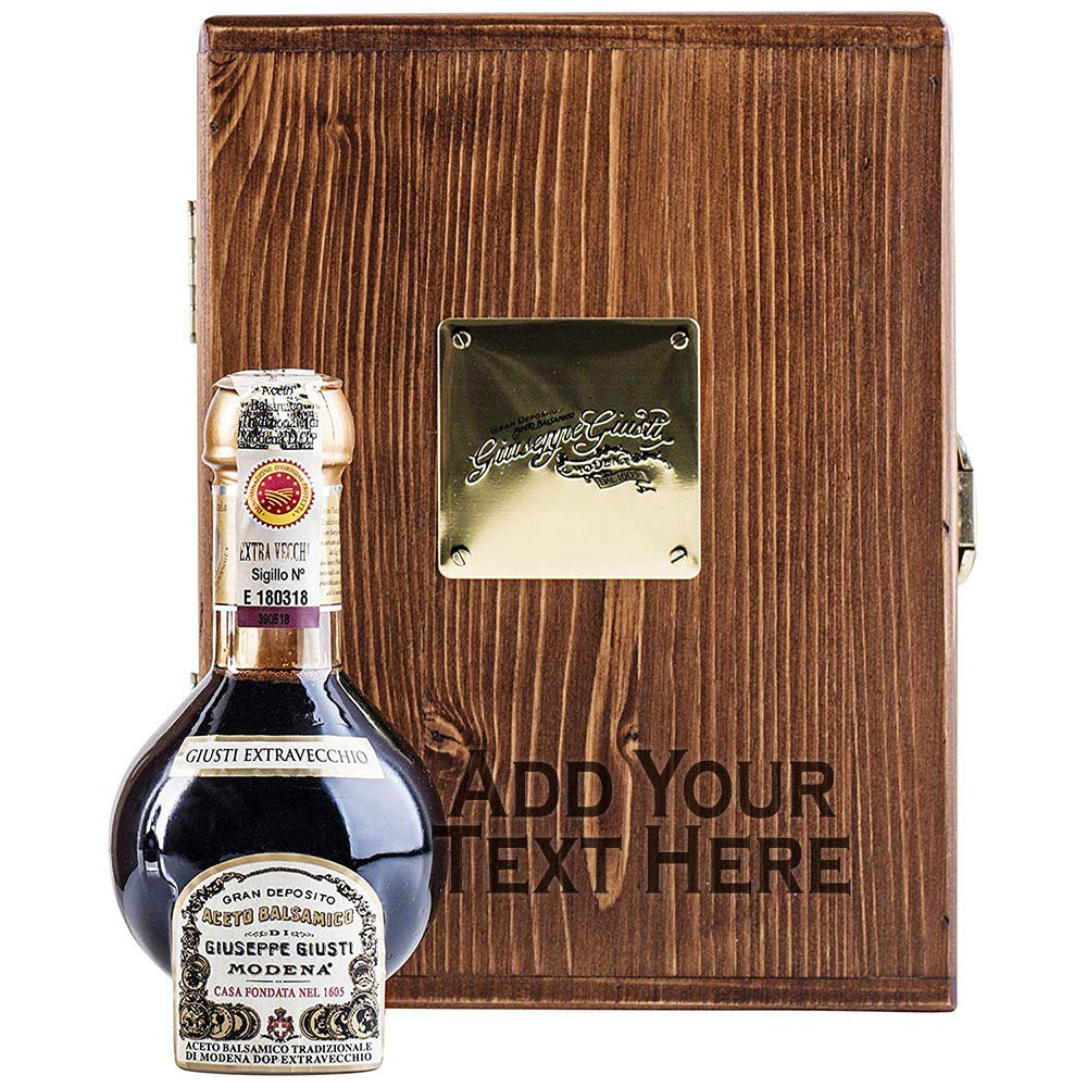Giuseppe Giusti - Balsamic Vinegar of Modena Traditional 25 year old DOP certified - Aceto Balsamico Tradizionale Extra Vecchio, 100ml - with Personalized Engraved Wooden Gift Box