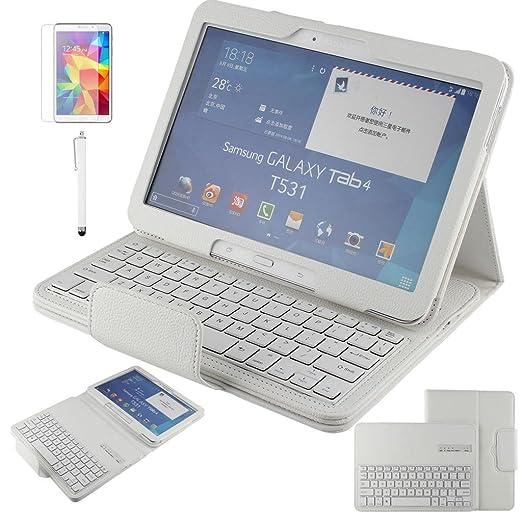 39 opinioni per fenrad Bianco Layout Bluetooth Tastiera QWERTY Cover Folio Litchi Grano PU