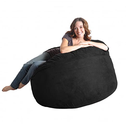 4 Black SLACKER Sack Foam Bean Bag Chair Like LoveSac Beanbag Gaming Love Sac