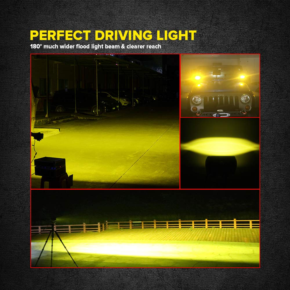 5 Inch 2pcs Yellow Fog Lights 6D LED Light Bars 72W Dual Row Amber LED Flood Beam Driving Light Waterproof Work Light for Offroad Trucks Jeep ATV UTV SUV Marine Boat Motorcycle Samman .