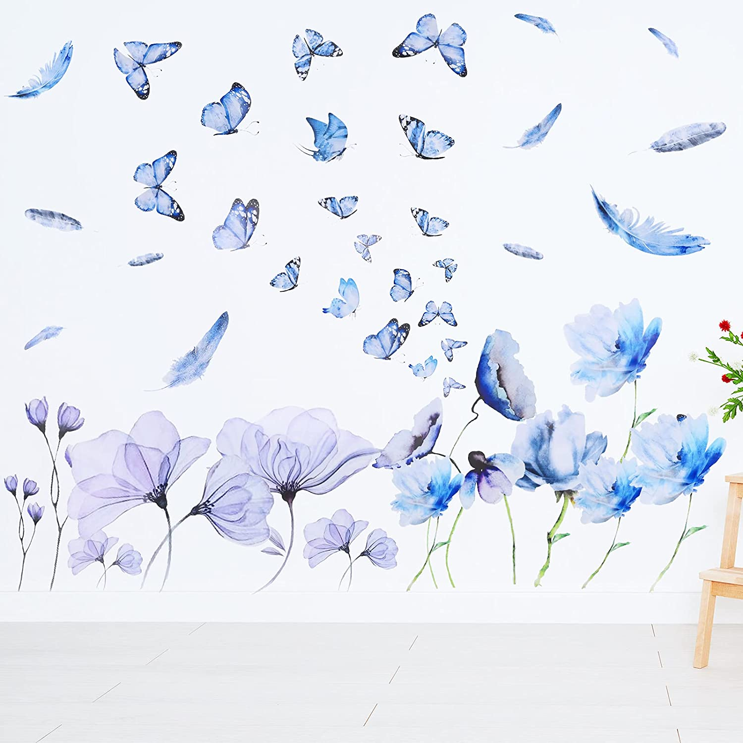 2 Sheets Blue Flower Wall Decals Garden Butterflies Wall Decals Removable Kids Room Wall Decoration DIY Butterfly Flower Art Decor Wall Stickers for Kids Room Nursery Classroom Bedroom Decoration