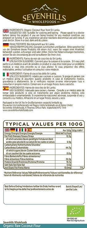 Sevenhills Wholefoods Harina De Coco Orgánico, Sin Gluten 1.5kg: Amazon.es: Salud y cuidado personal