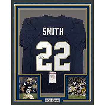 9861075fe Framed Autographed Signed Harrison Smith 33x42 Notre Dame Blue College Football  Jersey JSA COA